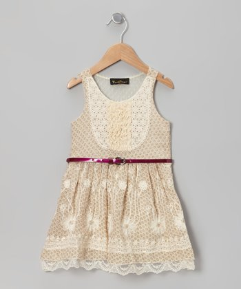 Beige Crocheted Belted Dress - Girls