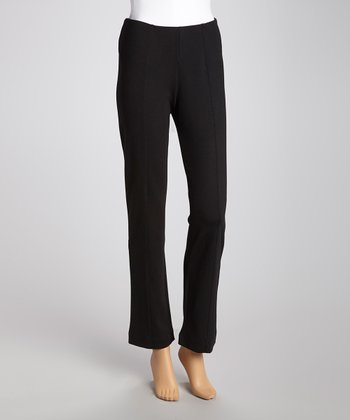 Black Pin Tuck Secret Shaper Pants - Women