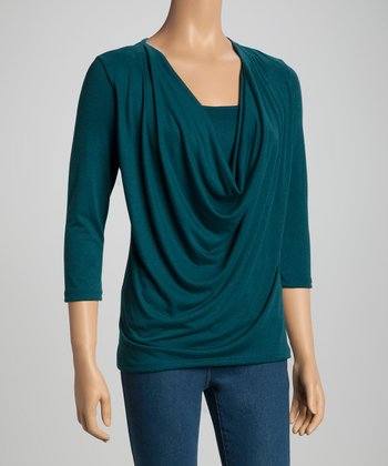 Teal Cowl Neck Top - Women