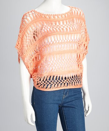Coral Sheer Crocheted Dolman Top
