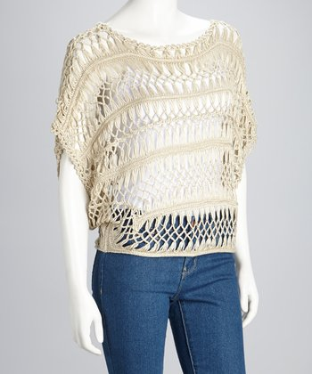 Cream Sheer Crocheted Dolman Top