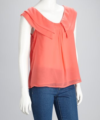 Coral Sheer Double Ruffle Sleeveless Top