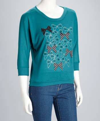 Teal Bow Three-Quarter Sleeve Top