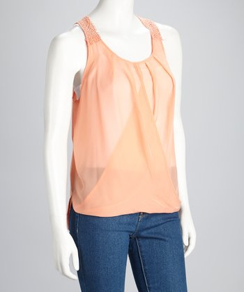 Peach Sheer Sleeveless Top