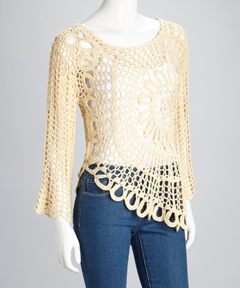 Cream Sheer Crocheted Long-Sleeve Top