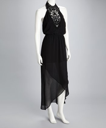Black Crocheted Halter Maxi Dress