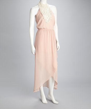 Peach Crocheted Halter Maxi Dress