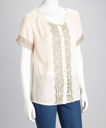 Peach Embroidered Button-Up Top