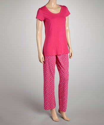 Pink Polka Dot Pajamas - Women