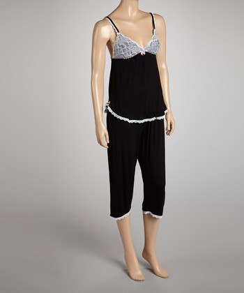 Black Call Me Lacy Pajama Set