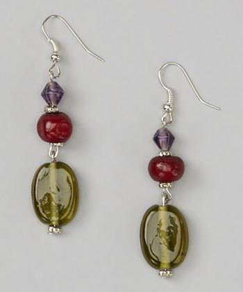Purple Glass & Red Lucite Drop Earrings