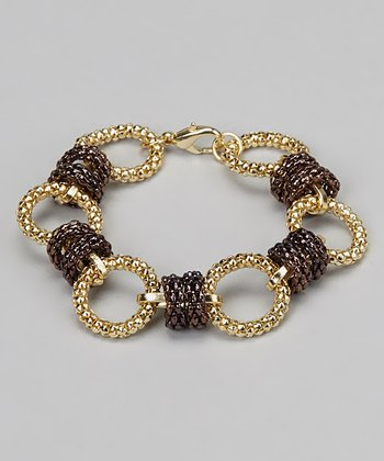Chocolate & Gold Mesh Ring Bracelet