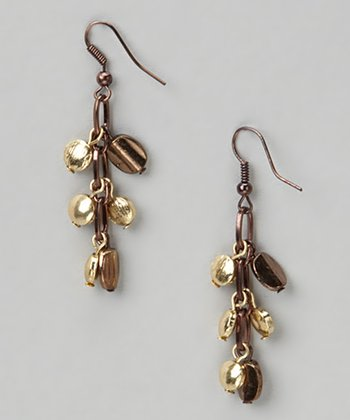 Chocolate & Gold Drop Earrings