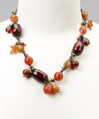 Red Glass, Hematite & Gold Necklace