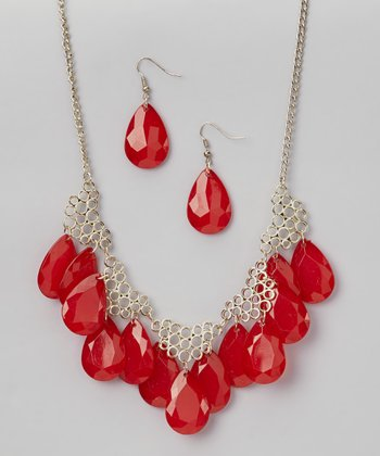 Red & Gold Necklace & Earrings