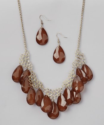 Brown & Gold Necklace & Earrings