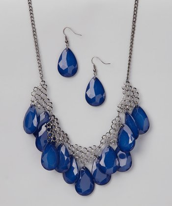 Blue & Hematite Necklace & Earrings