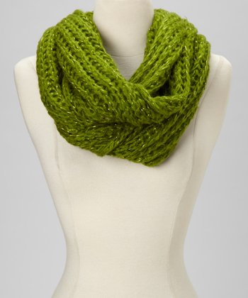 Green Sparkle Knit Infinity Scarf