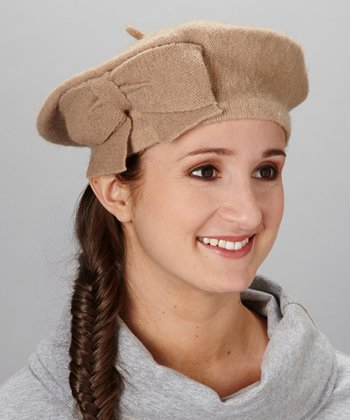 Beige With A Single Bow Angora-Blend Beret