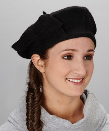 Black With A Single Bow Angora-Blend Beret