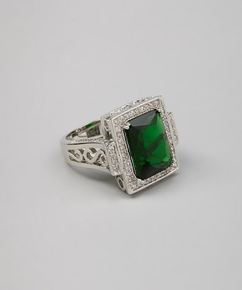 Emerald Sparkle & Silver Cocktail Ring