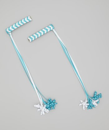 Blue & White Korker Braid Clip Set