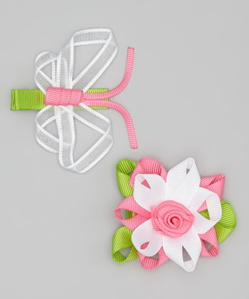 White & Pink Butterfly & Flower Clip Set