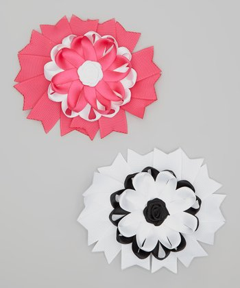 Hot Pink & White Flower Clip Set