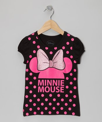 Black & Pink Polka Dot Minnie Tee - Girls