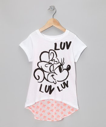 White & Coral 'Luv' Minnie Tee - Girls