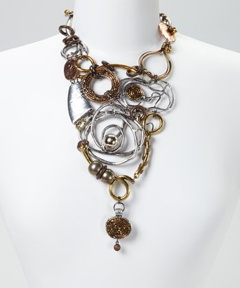 Gold & Silver Beaded Twisted Metal Bib Necklace