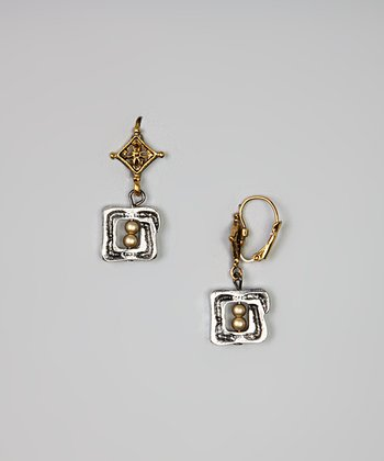 Gold & Silver Beaded Square Drop Earrings