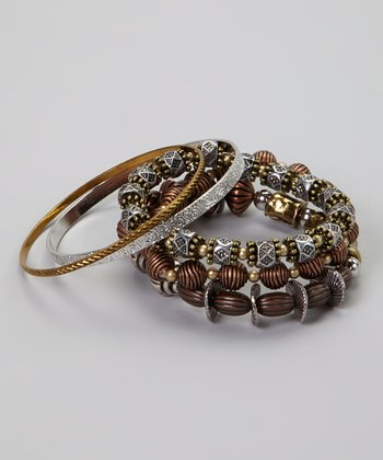 Tri-Tone Beaded Bracelet & Bangle Set