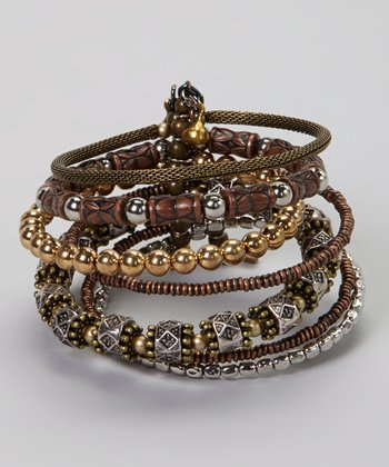 Tri-Tone Beaded Layered Cuff