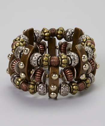 Tri-Tone Triple-Layer Beaded Bracelet