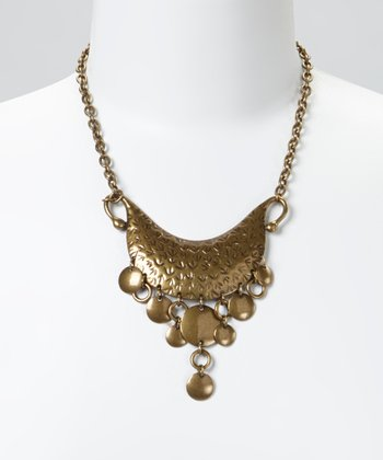 Gold Bird Track Bib Necklace