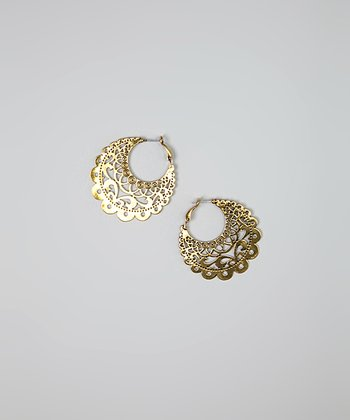 Gold Scalloped Filigree Disc Earrings