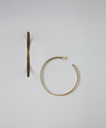 Gold Braided Filigree Hoop Earrings