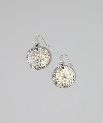 Silver Textured Disc Drop Earrings
