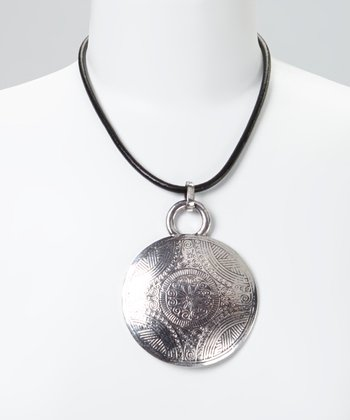 Silver & Black Tribal Disc Leather Pendant Necklace