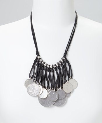 Silver & Black Coin Bib Necklace