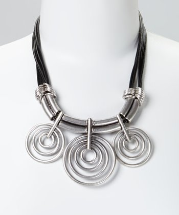 Silver & Black Concentric Circle Bib Necklace