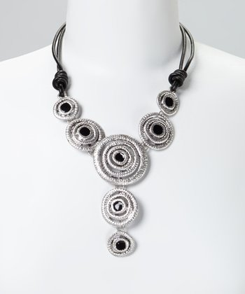 Silver & Black Concentric Circle Dangle Leather Bib Necklace