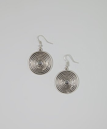Silver & Black Circle Disc Drop Earrings