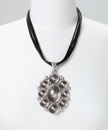 Silver & Black Textured Circle Leather Pendant Necklace