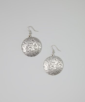 Silver Hammered Disc Drop Earrings