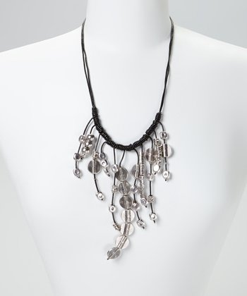 Silver & Black Spiral Beaded Leather Bib Necklace