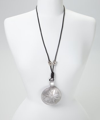 Silver & Black Tribal Floral Disc Leather Pendant Necklace