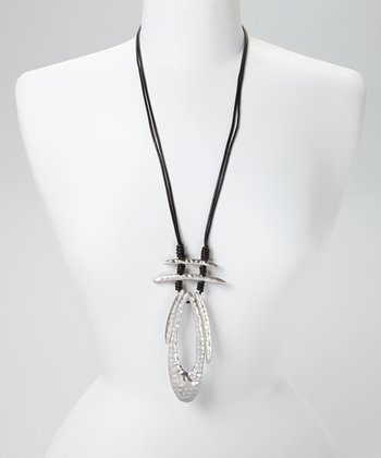 Silver & Black Hammered Tribal Leather Pendant Necklace