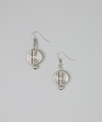Silver Spiral Disc Drop Earrings